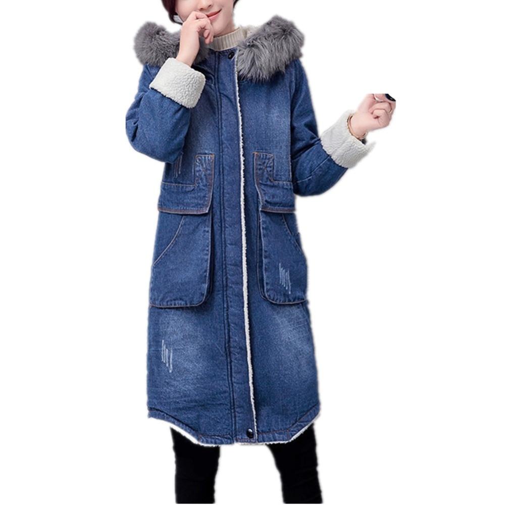 Con Denim Outwear Inverno Casual Nuove Caldo Colly Cappuccio Di Giacca Blu Cappotti Cappotto Allentato Donne Lisa Delle Signore Spessore Jeans ZkOPwXiuT