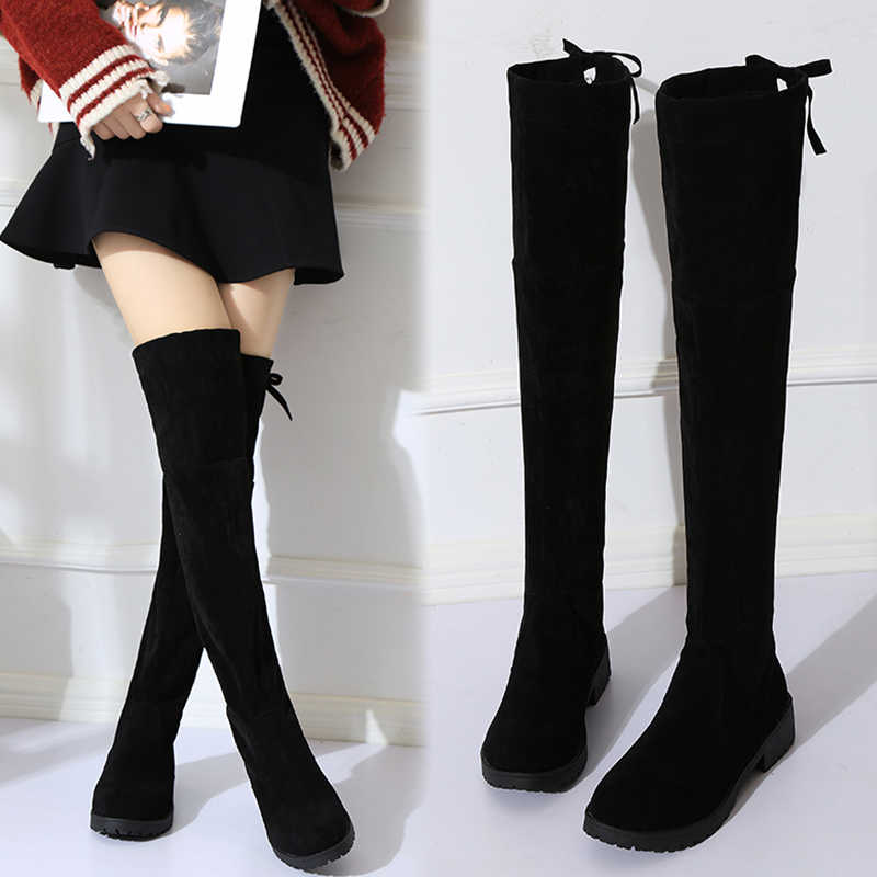 1193da77ce5 2018 NEW High Boots Female Winter Boots Women Over the Knee Boots Flat  Stretch Sexy Fashion