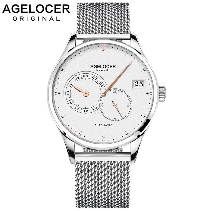AGELOCER homme montre 2018 métal montre Bracelets étanche Ultra mince Date horloge mâle en acier maille montre hommes automatique montre-bracelet