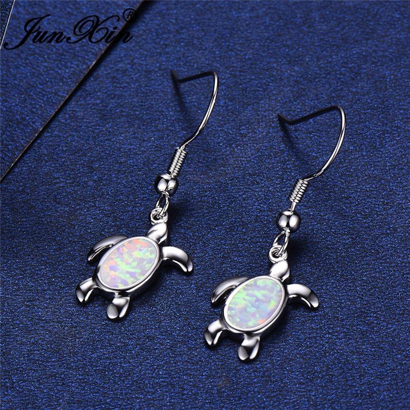 JUNXIN Cute Oval Turtle Drop Earrings For Women White Gold Filled Blue White Fire Opal Earrings Female Christmas Jewelry Gifts