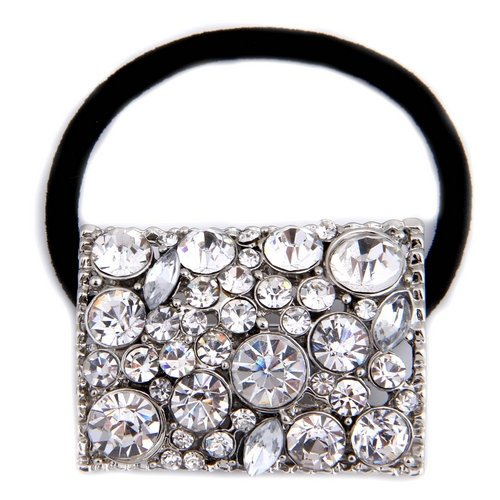 YOST Silver Metal Rhinestone Hair Band Tie Ponytail Holder Girl Chic
