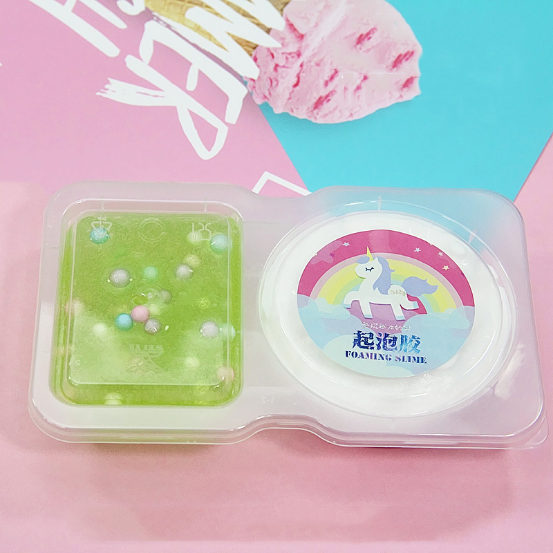 Happy Monkey 140ml Foaming Fluffy Slime+Clear Slime Toys DIY Anti-Stress Educational Cotton Mud Crystal Slime Gift Toy