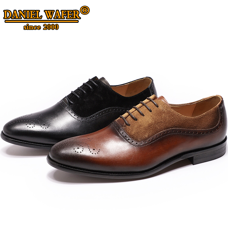 Italian Leather Shoes Men Luxury New Fashion Oxford Medallion Lace Up Patchwork Suede Brown Black Shoes Wedding Casual Shoes MenItalian Leather Shoes Men Luxury New Fashion Oxford Medallion Lace Up Patchwork Suede Brown Black Shoes Wedding Casual Shoes Men