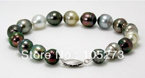 "New Free Shipping Natural Freshwater Pearl Bracelet Bangle 8.3-10mm Rice Shaper MultiColor 8"" Fashion Pearl Jewelry"