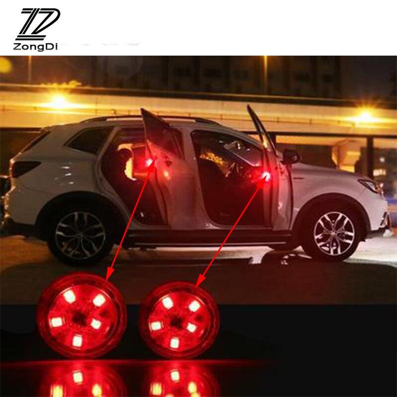 ZD Car Door Warning Signal Crash Strobe Light5 LED Stickers For Citroen C5 C4 C3 C2 Mini Cooper Opel Astra H G J Vectra C Saab