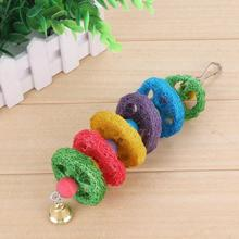 Colorful Pet Parrot Loofah Chew Biting Toy