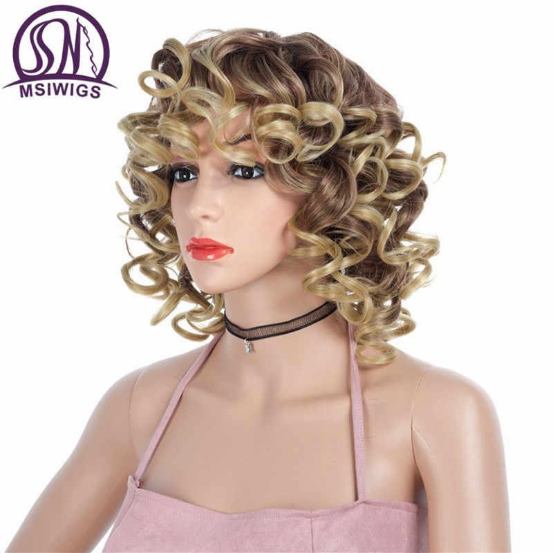 Msiwigs ombre loira encaracolado curto perucas com franja preto sintético resistente ao calor peruca para mulheres mix cor cabelo feminino