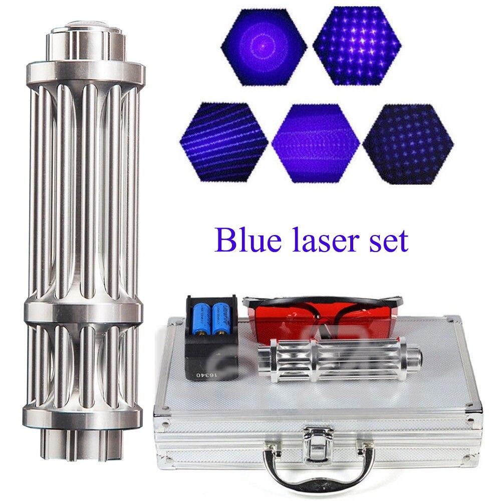 Plus Puissant Brûlant Torche Laser 450nm 10000 m Focalisables Bleu Pointeurs Laser lampe de Poche brûler l'allumette bougie cigarette allumée