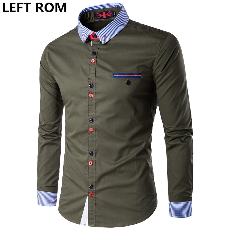 LEFT ROM 2017 Spring Autumn Cotton Dress Shirts High Quality Mens Casual Shirt Casual Men Plus SizeXXXL Slim Fit Social Shirts