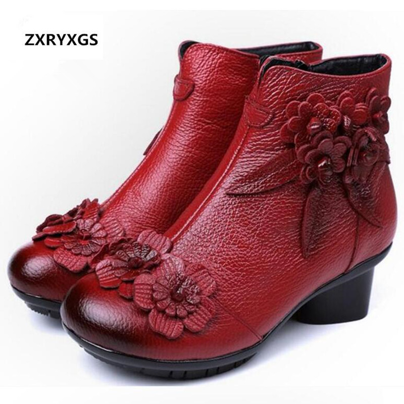 ZXRYXGS Brand Boots Fashion Shoes Fall Winter Ankle Boots 2018 Flowers Cow  Leather Shoes Snow Boots Women Shoes Boots Plus Size 18c7f619f9e24