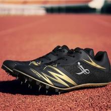 Mężczyźni Track amp Field Spike buty mężczyźni kobiety Student szkolenia sportowe buty do biegania Track Race skoki męskie buty trampki Unisex 44 tanie tanio LUONTNOR Spring2018 Pcv podłogi Oddychające Wodoodporna Wysokość zwiększenie Masaż Bezpłatne elastyczne Lace-up Pasuje prawda na wymiar weź swój normalny rozmiar