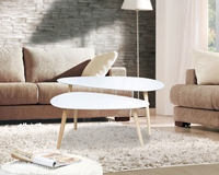 HappyHome Solid wood Nordic coffee table small creative apartment short tableeasy to install living room modern coffee table