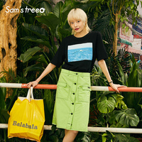 Women Top Skirts Sets Sea Prints Green A Line Skirts Female 2 Pieces Sweet Casual Sets