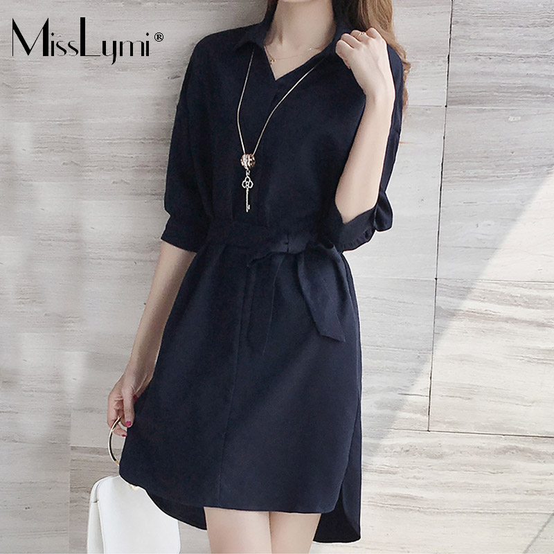 MissLymi XL 5XL Plus Size Women Shirt Dresses 2018 Summer Korean Fashion  Casual Loose Turn down Collar Solid Color Elegant Dress-in Dresses from  Women s ... 37f4d75ffcbb