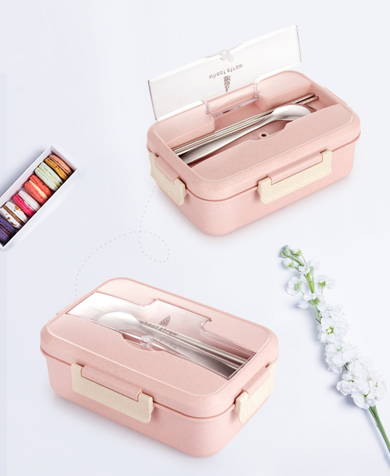 TUUTH Microwave Lunch Box Wheat Straw Dinnerware Food Storage Container Children Kids School Office Portable Bento Box B7