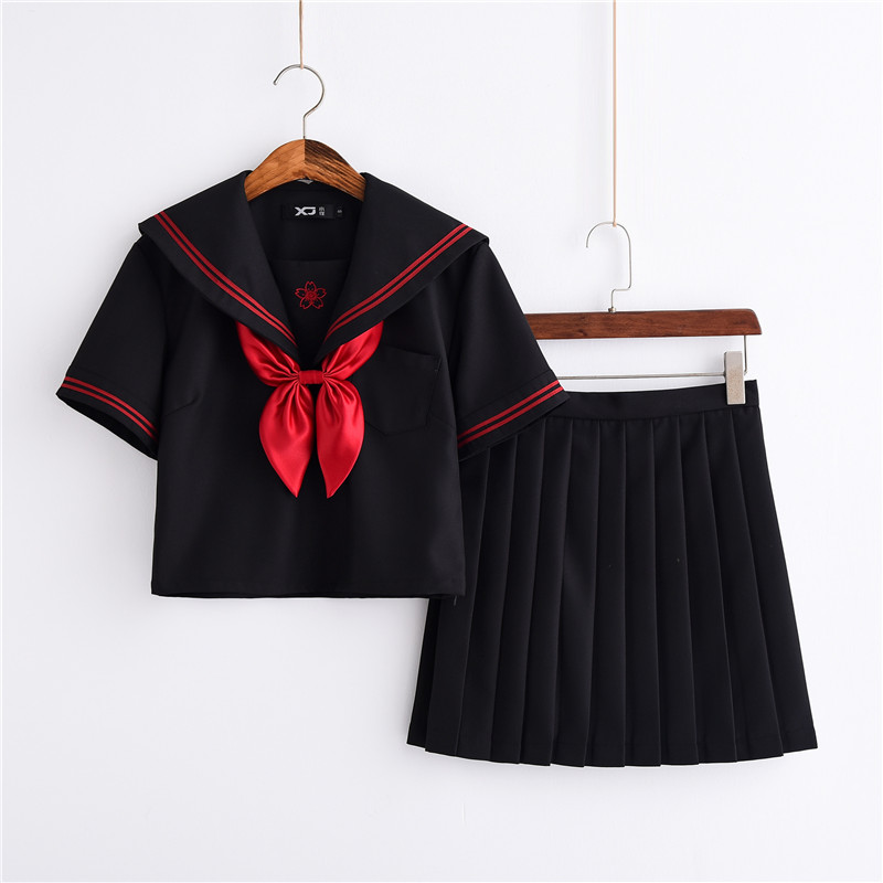 Red Sakura Embroidery Japanese Uniforms Black Cute Sailor Tops Pleated Skirt Full Sets Cosplay JK Costume S-XXL