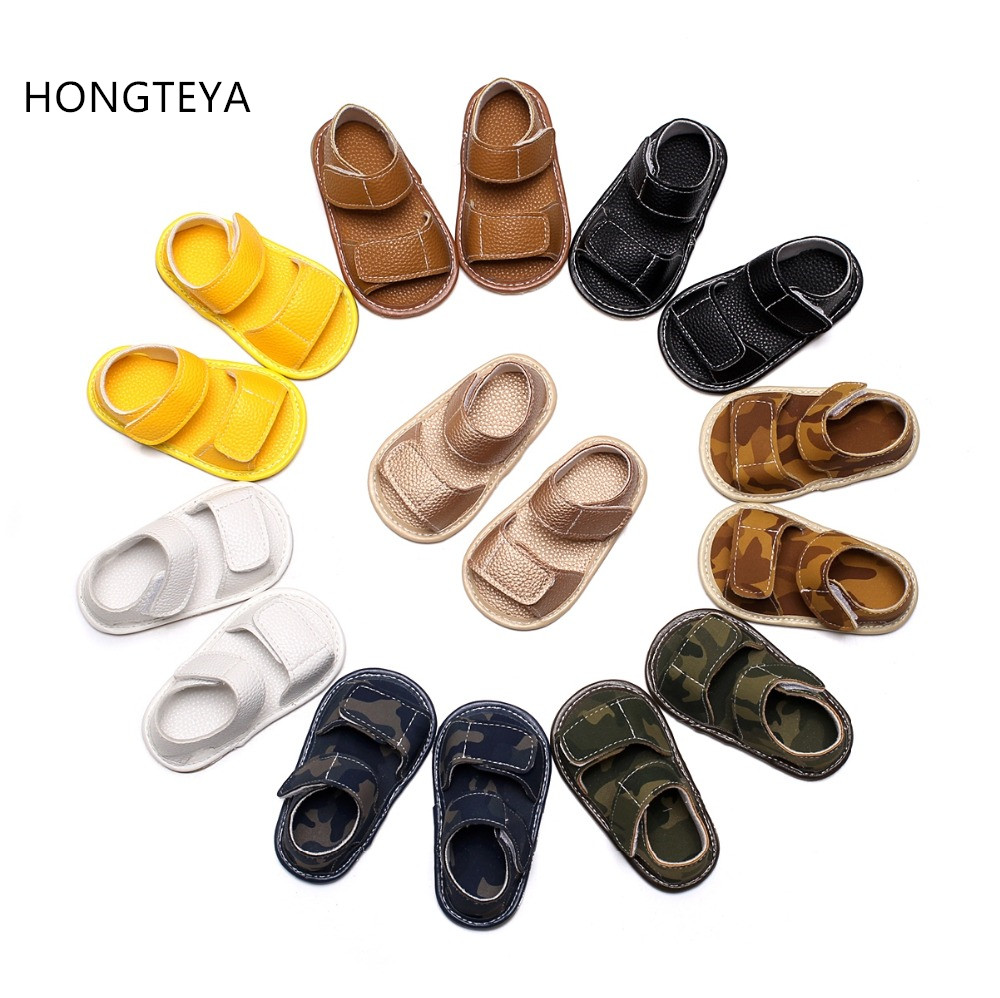 HONGTEYA army New summer Hot salehandmade pu leather shoes toddler baby boys girls sandals hard sole baby moccasins baby sandals