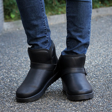 39-44 winter boots men super warm shoes solid snow boots plush ankle short boots Buckle men shoes 328