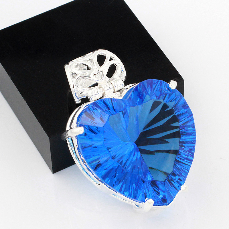 High Quality Hermosa Love Heart Style 925 Sterling Silver Dashing Blue Topaz Pendant  HS0068P