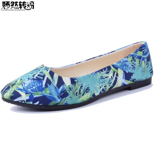 Spring Summer Women Shoes Flower Print Flats Candy Color Soft Loafers  Ladies Shoes Zapatos Mujer Size35-43 a7032f2df38c