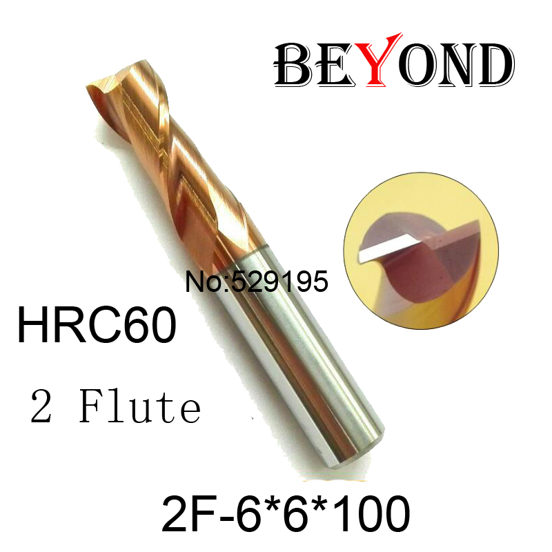 2F-6*6*100 HRC60,carbide Square Flatted End Mills coating two flute diameter 6 mm,100mm length The Lather,boring Bar,cnc,machine  цены