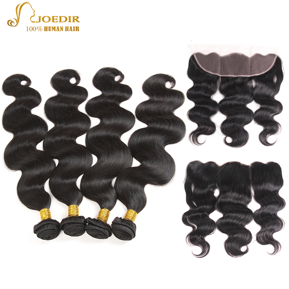 Joedir Indian Hair Bundles with Closure Natural Black 4 Bundles with Closure Body Wave Weaves Human Hair with Closures Frontal