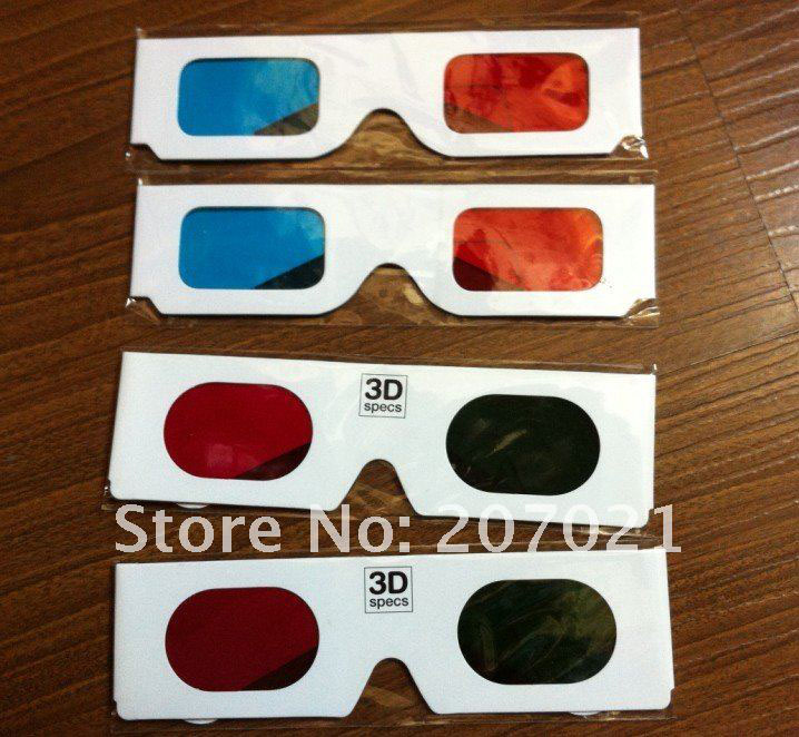 Wholesale 3000pcs Toy Paper 3D glasses White Paper Children Red Cyan Blue 3D glasses For 3D movies,games for LED TV Projector