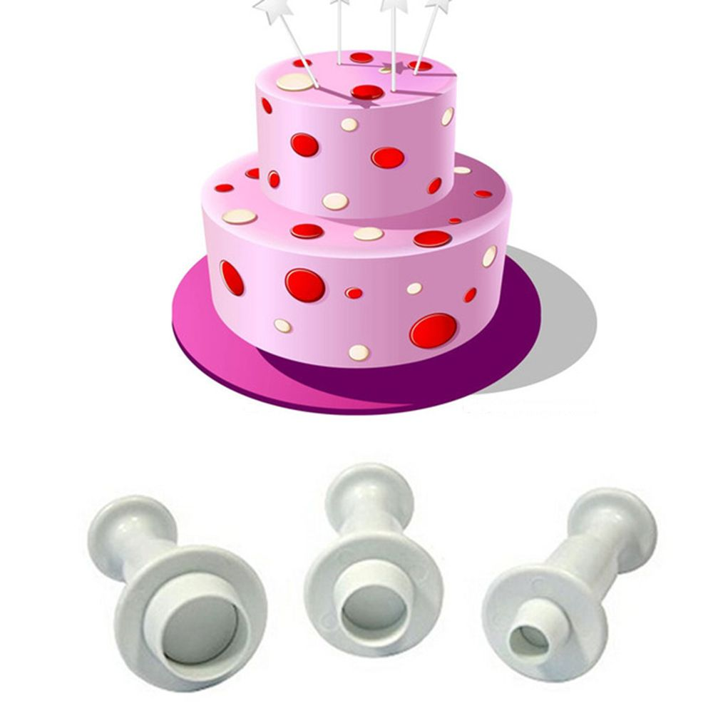 TTLIFE 3pcs Round Circle Cake Biscuit Cookies Mold Cutter Plunger Fondant Sugar craft Icing Decorating Birthday Party Supplies