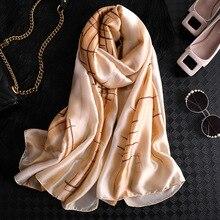Elegant Silk Women Scarf Print Foulard Hijab Female Spring Summer Scarfs Lady Pashmina Beach Scarves Shawls 2019 New