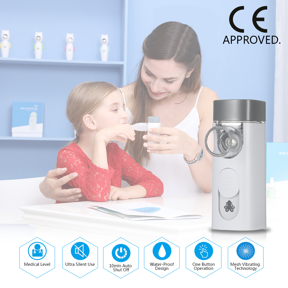 Steaming Devices Medical Rechargeable Steam Inhaler Vaporizer Water Proof Mesh Nebulizer for Asthma COPD Respiratory Medicine