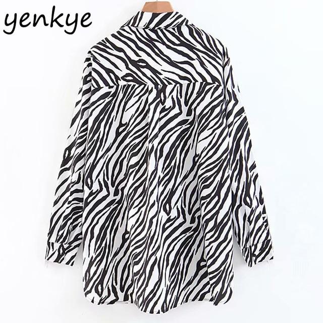 Premium Black White Zebra Print Women Blouse Long Sleeve Turn-down Collar Asymmetric Hem Flowy Loose Fit Shirt XZWM1840