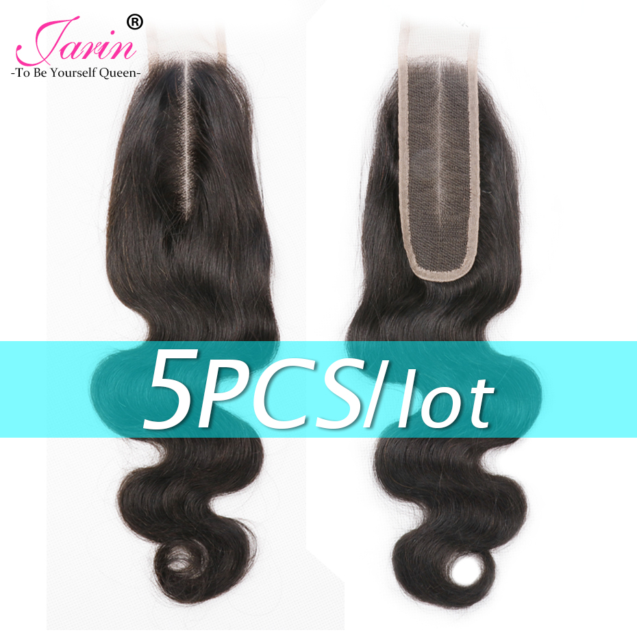 5 Pieces/lot 2*6 Brazilian Body Wave Hair Lace Closure Middle Deep Part 100% Human Hair Remy Natural Color For Black Women(China)