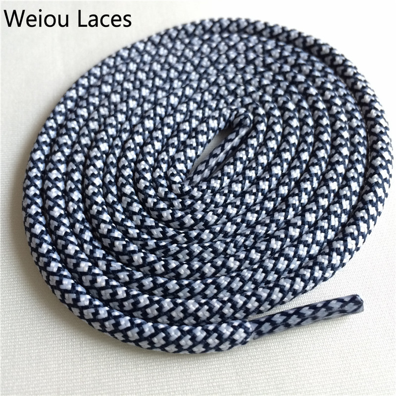 Weiou новые яркие цвета для пеших прогулок, двухцветные шнурки, сменные шнурки для обуви, круглые шнурки для баскетбола 750 - Цвет: 24White Dark Blue