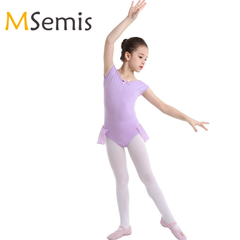 5b32064c85 Crianças Meninas Vestido de Ballet Ginástica Maiô para as Meninas de Dança  de Algodão Raglan Mangas Ballet Dança Ginástica Collant Macacão
