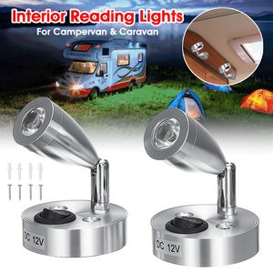 3W 12V Aluminum Warm White Light LED Spotlights Interior Reading Lights Switch For Caravan Boat Campervan Home Bedroom Use(China)