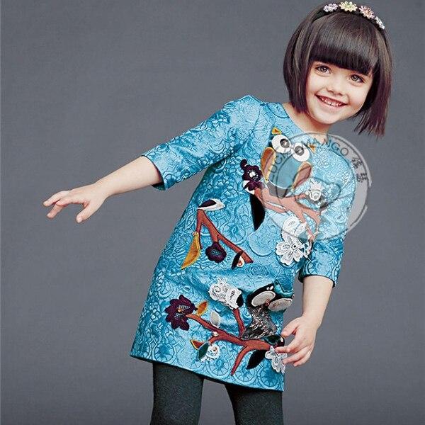 Весна сова узор девочка платье дети младенцы дети одежда принцесса платье roupas infantil meninas ER042
