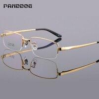 PANDDOG Pure Titanium Myopia Frame Glasses Frame Solid Color Metal Luxury Ultra Light Including Glasses Case