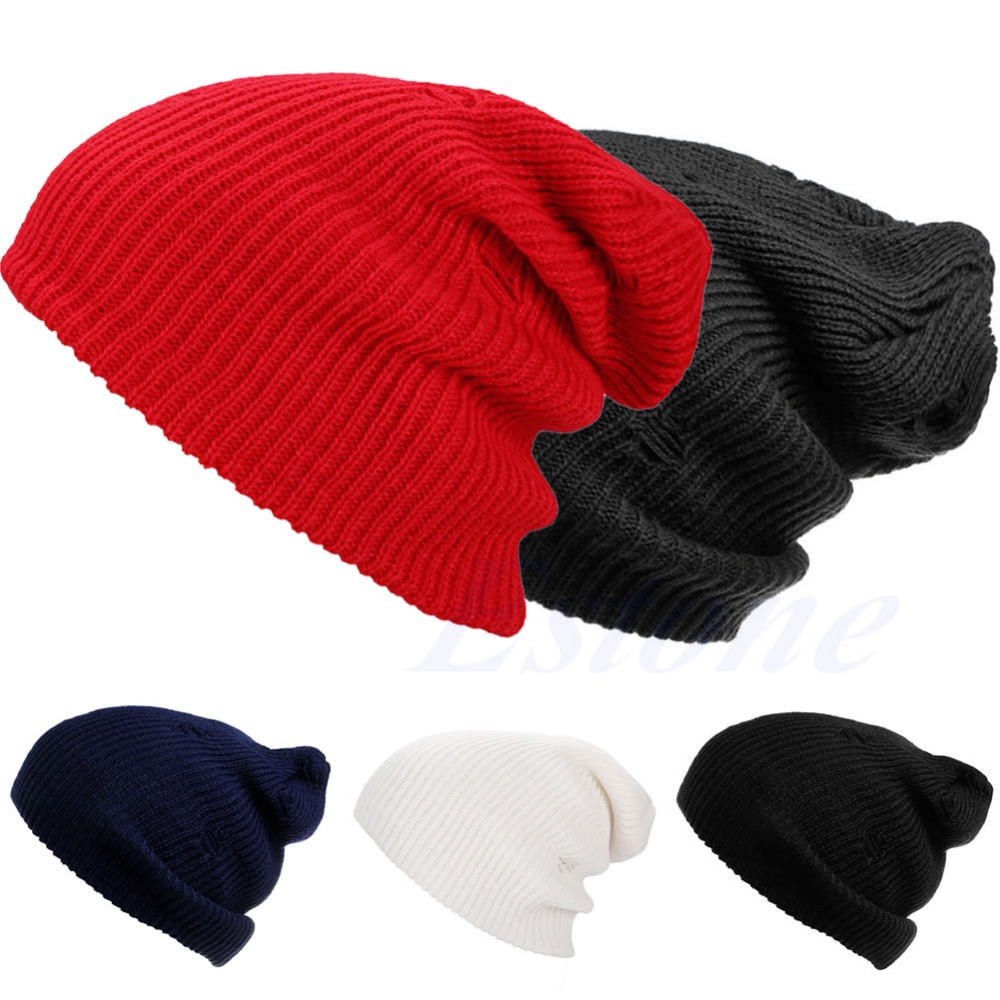 Winter Warm Unisex Men Women Knit Ski Crochet Slouch Cap Beanie Hip-Hop Hole Hat unisex women warm winter baggy beanie knit crochet oversized hat slouch ski cap