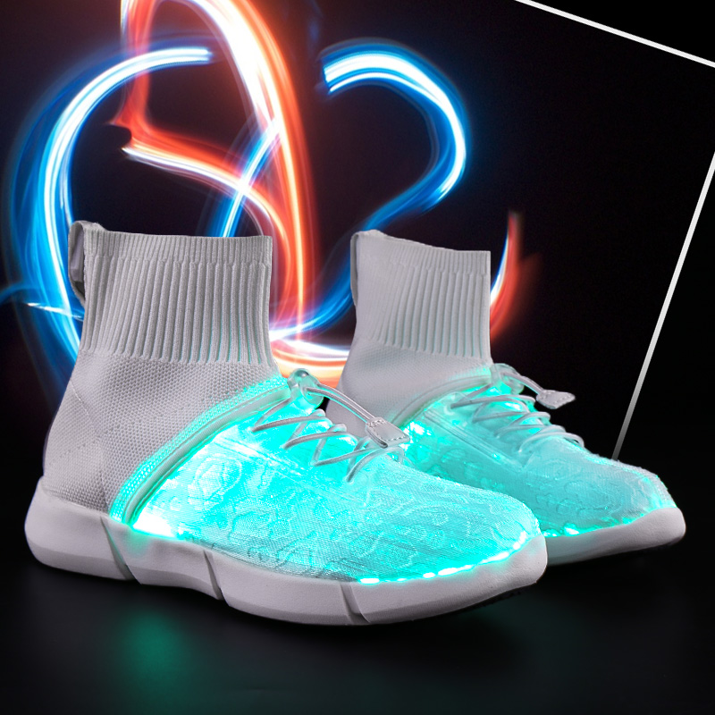 Kids Casual Shoes High Top Breathable Led Fiber Optic USB Charge Light Shoes For Girls Boys Children Sneakers Chaussure Fille uovo 2016 outdoor nonslip boys shoes kids breathable baby children shoes girls shoes tenis infantil chaussure fille size 26 35