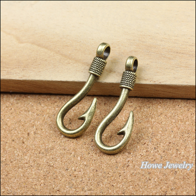 50pcs vintage antique bronze fishing hooks charm fit for fashion earrings  and maxi Necklaces & Pendants