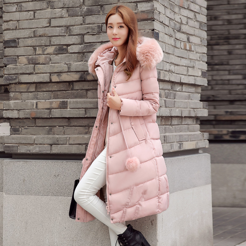 2016 New Winter Women Coat Faux  Fur Collar Pure color Thick Warm Hooded Down Cotton Jacket High quality Large size Women Coat 2017 new korean winter women coat elegant pure color thick warm hooded cotton jacket high quality large size women coat parkas