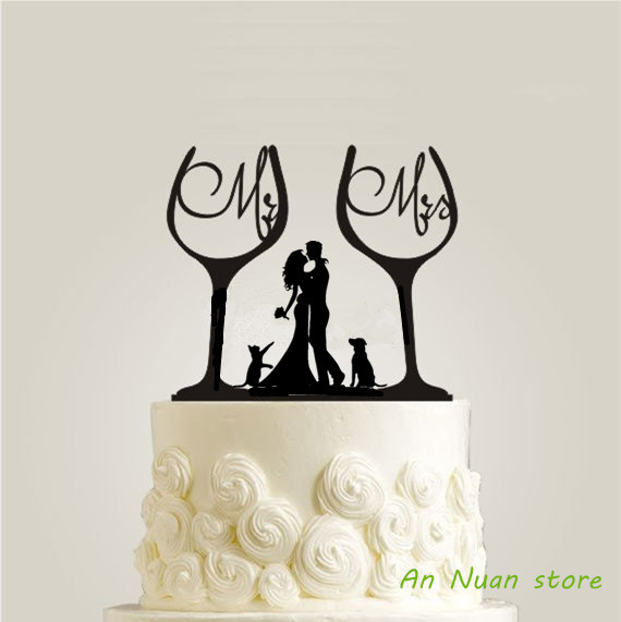 Bride And Groom Silhouette Wedding Cake Topper Funny Wine Glass