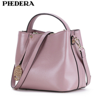 Spring New Real Leather Women Messenger Bags Lichee Pattern Handbag Fashion Cowhide Brand Female Totes Bucket Bag