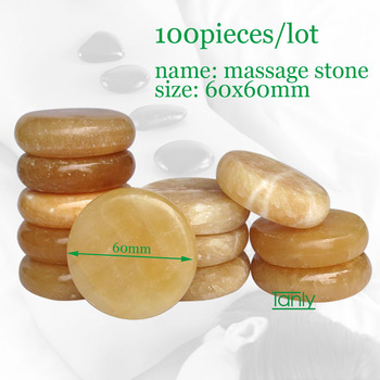 100pcs/lot 6x6cm yellow jade massage body stone topaz back massager hot stone back pain relief healthcare health care