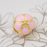Top Quality 925 Sterling Silver Gold Color Pink Enamel Cherry Blossom Clip Stopper Beads Fit Pandora Bracelet Bangle DIY Jewelry