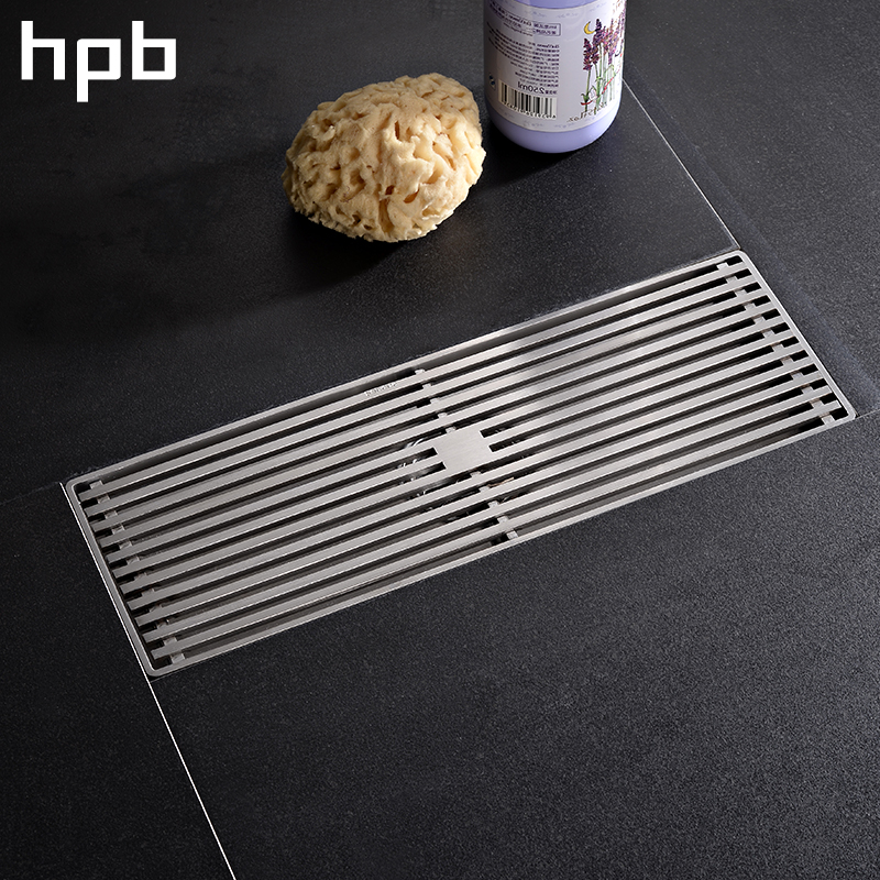 HPB 30*10cm Floor Drain 304 Stainless Steel Linear Shower Drain Square Anti-odor Floor Drain Bathroom Invisible Shower HP7911 304 solid stainless steel 300 x 110mm square anti odor floor drain bathroom invisible shower drain