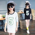 striped t shirts girls tops clothes autumn spring 2017  little teenage kids girl long sleeve letter white black t shirt clothes