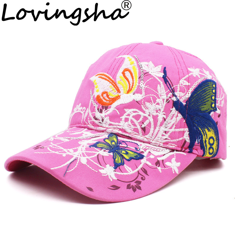 LOVINGSHA Fashion spring and summer butterfly embroidery Colorful flower women's sun shading Baseball Cap Women Hip Hop Hat B308 hip hop hat woman hip hop hatbaseball cap - AliExpress