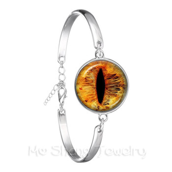 1 PC Sauron Evil Bracelet Evil Eye Glass Photo Jewelry, Dragon Eye Silver Plated Chain Bangle For Women Best Gift image