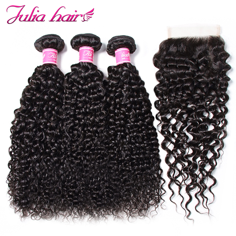 Ali Julia Hair 3 Bundles with Closure Brazilian Curly Weave Human Hair Bundles With Closure 4*4 Lace Free Middle Three Part Remy-in 3/4 Bundles with Closure from Hair Extensions & Wigs    1